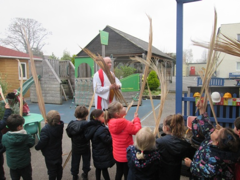 Fr John visits Nursery for Palm Sunday
